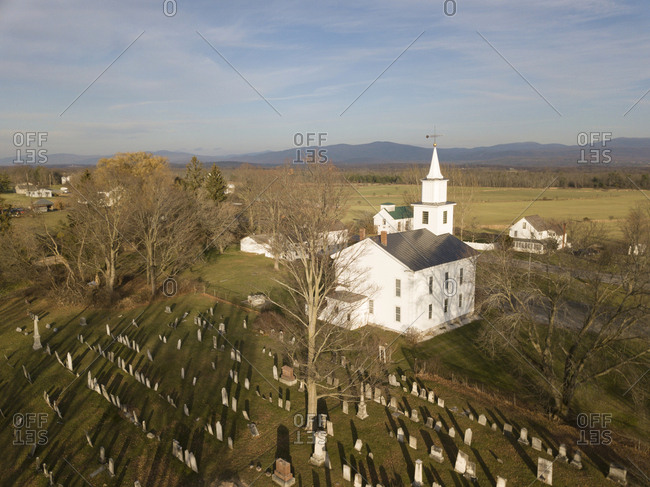 Drone view of Vermont cemetery in churchyard