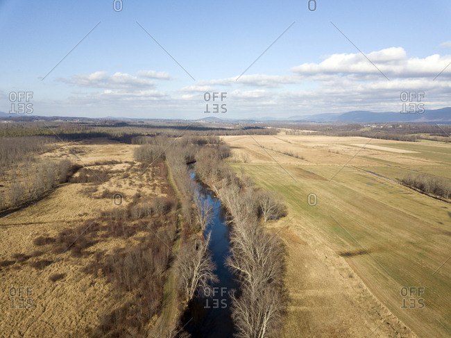 Elevated view of Otter Creek through farmland in Salisbury, Vermont