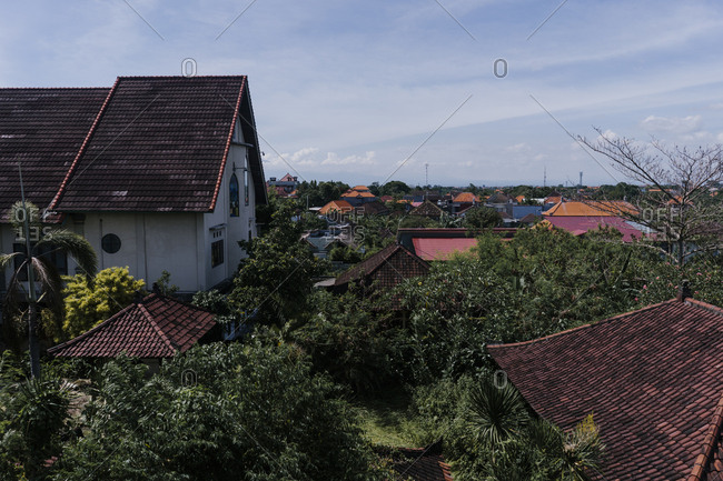 View of rooftops in Canggu, Bali, Indonesia
