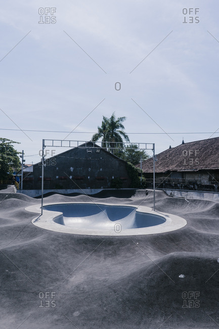 Canggu, Bali, Indonesia - March 19, 2018: Swimming pool ramp at a skate park