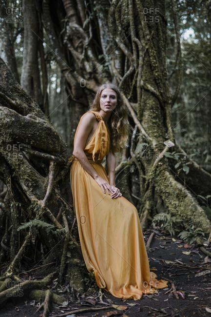 Woman wearing golden dress leaning on a banyan tree