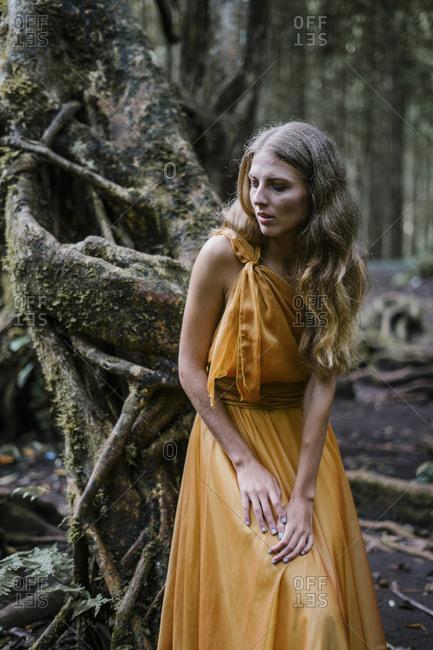 Blonde woman wearing golden dress resting on a banyan tree