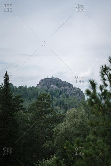 Cloudy sky over mountain landscape in Krasnoyarsk, Russia