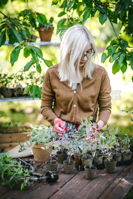Young woman tending to greenhouse plants