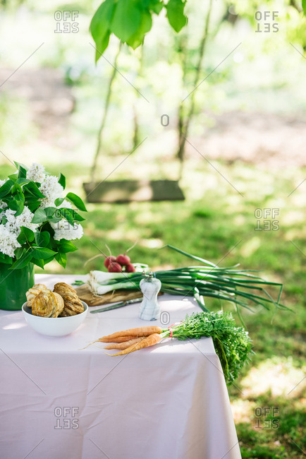 Table decorated with fresh vegetables and baked goods in idyllic spring garden