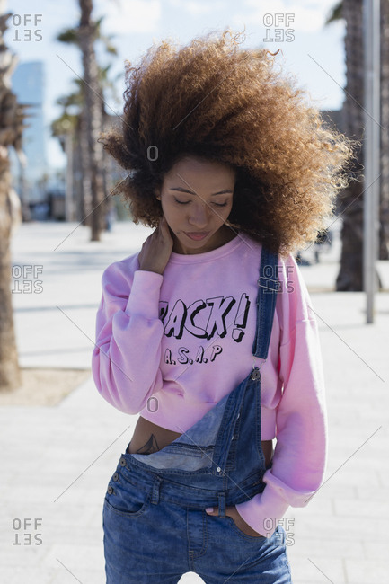 Beautiful and stylish black woman in Barcelona, Spain.
