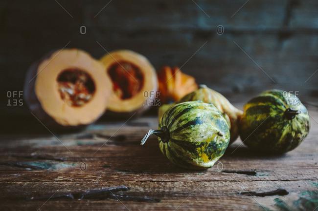 Ornamental pumpkins on wood