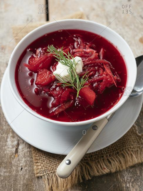 Bowl of vegan Borscht