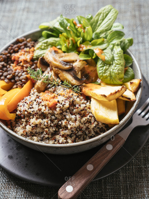 Lentil Quinoa Bowl- lentils- quinoa- bell pepper- roasted parsnips- field salad- mushrooms- spicy vegan sauce