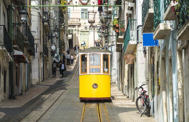 Portugal- Lisbon- Bairro Alto- Elevador da Bica- yellow cable railways
