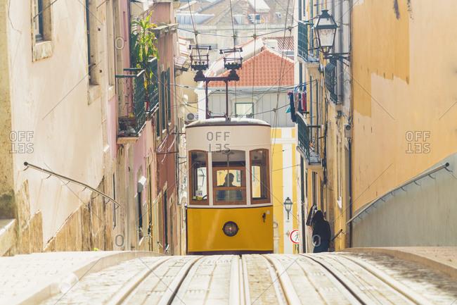 Portugal- Lisbon- Bairro Alto- Elevador da Gloria- yellow cable railways