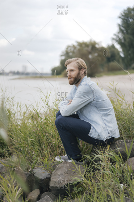 Germany- Dusseldorf- man relaxing  in nature