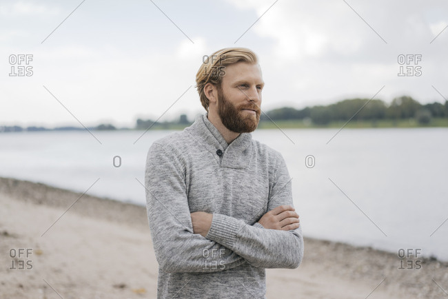 Germany- Dusseldorf- portrait of man on the beach