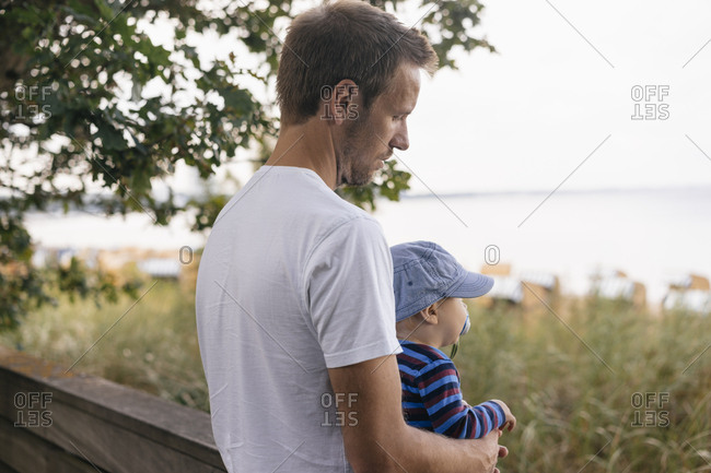 Germany- Timmendorfer Strand- father holding his son