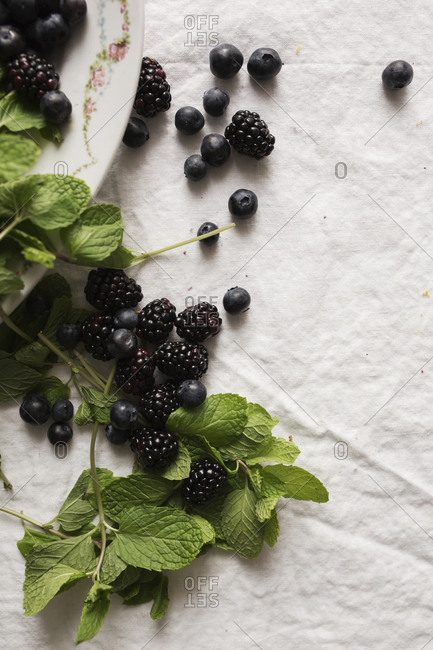Berries and mint leaves