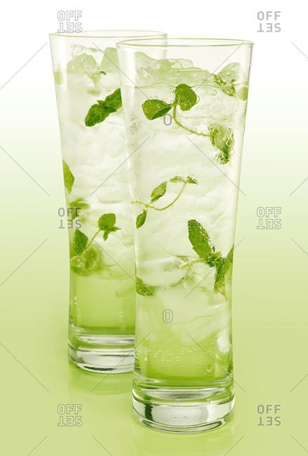 Drink with green leaves