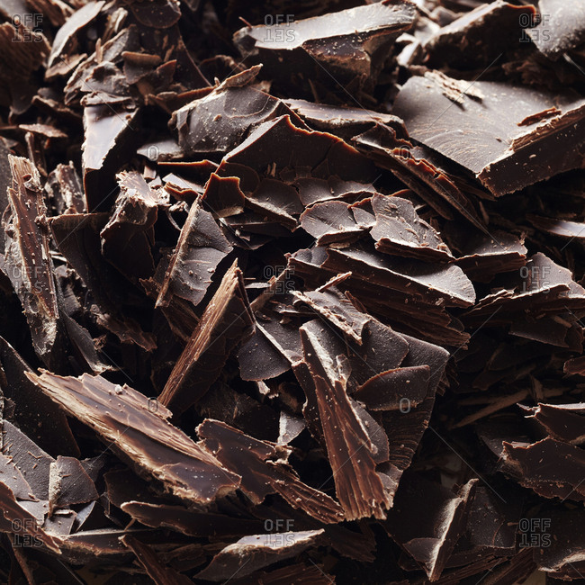 Close up of chocolate shavings