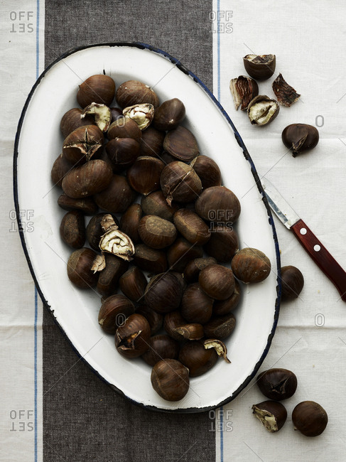 Plate of roasted chestnuts
