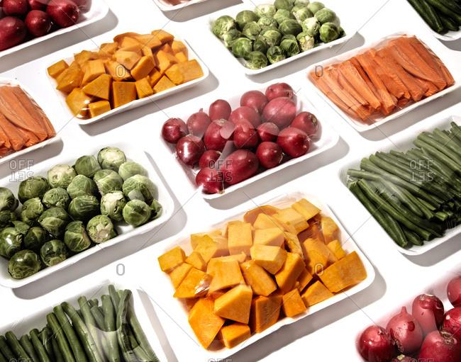 Fresh prepared raw produce in packaging