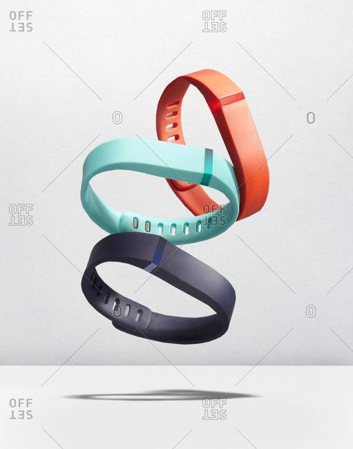 Colorful athletic wristband trackers