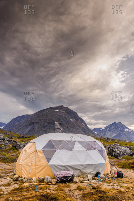 Tent pitched in the Tasermiut Fjord, Narsaq, Vestgronland, Greenland