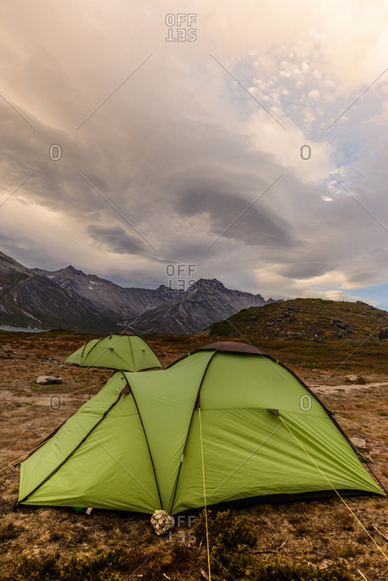 Tents pitched in the Tasermiut Fjord, Narsaq, Vestgronland, Greenland