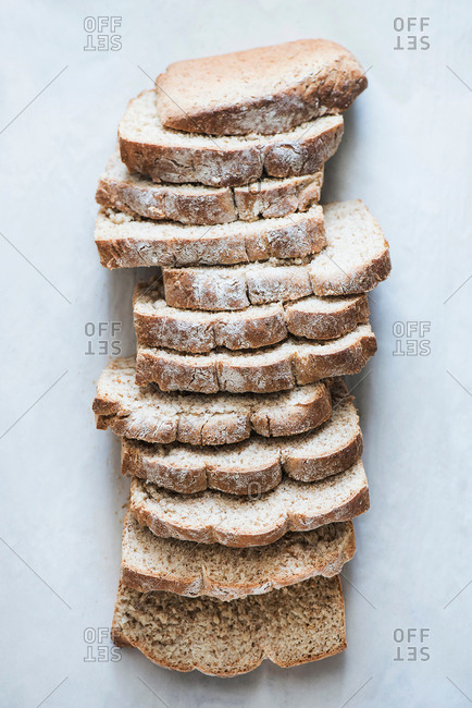 Freshly baked whole grain bread slices