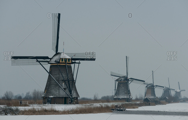 Traditional windmills, Kinderdijk, Zuid-Holland, Netherlands