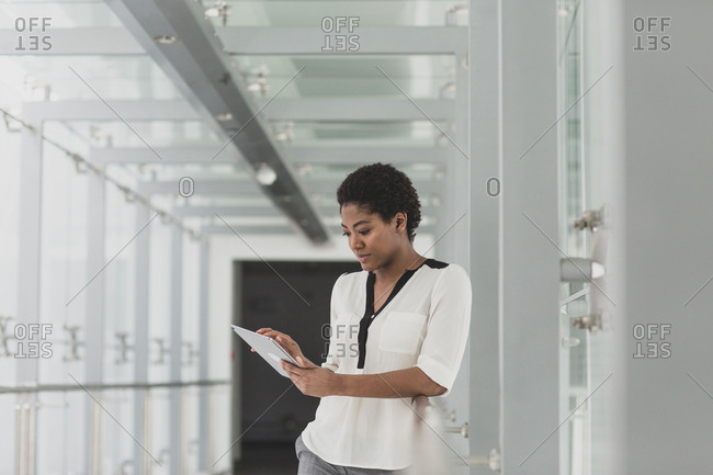 African American businesswoman using a digital tablet
