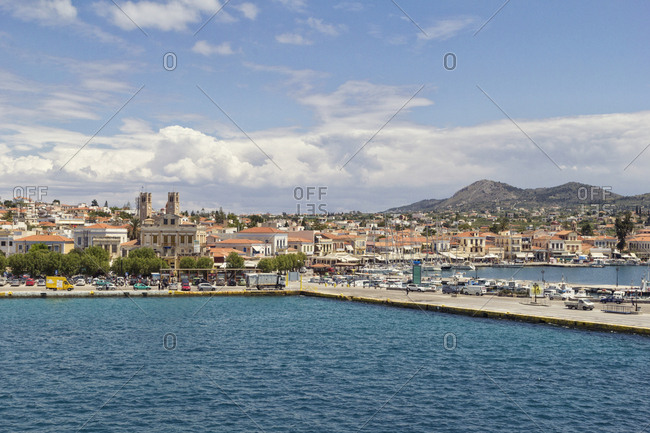 Aegina, Greece - May 6, 2014: View to harbor