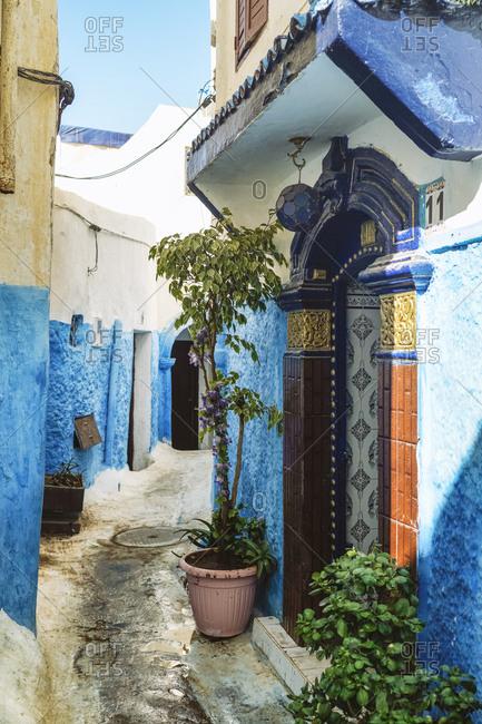 Rabat, Morocco - November 14, 2017: Alley and house entrance