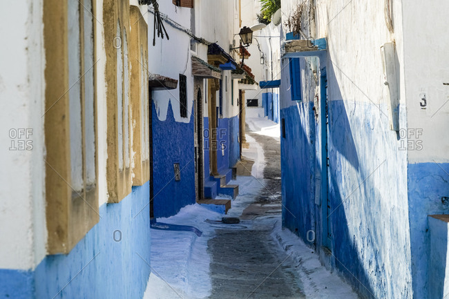 Rabat, Morocco - November 14, 2017: Morocco- Rabat- narrow alley