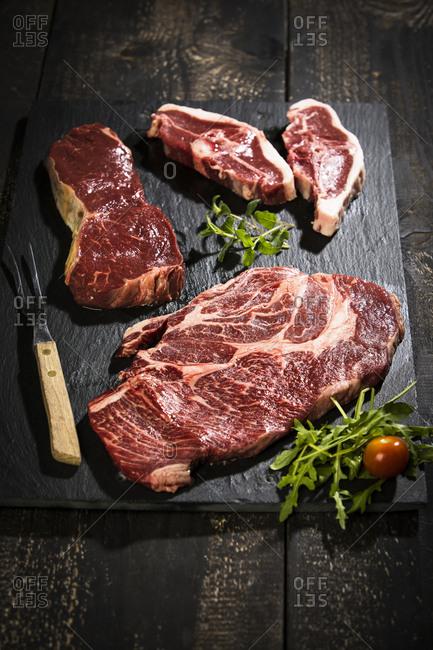 Raw meat- roast beef - american chuck eye steak and lamb chop