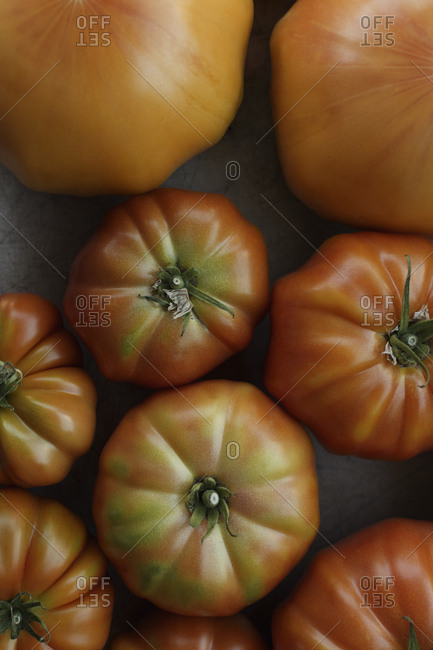 Organic heirloom tomatoes from above