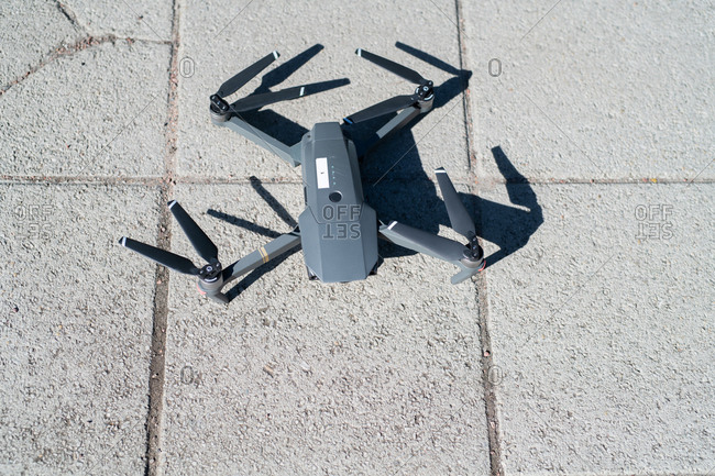 High angle view of small drone on ground