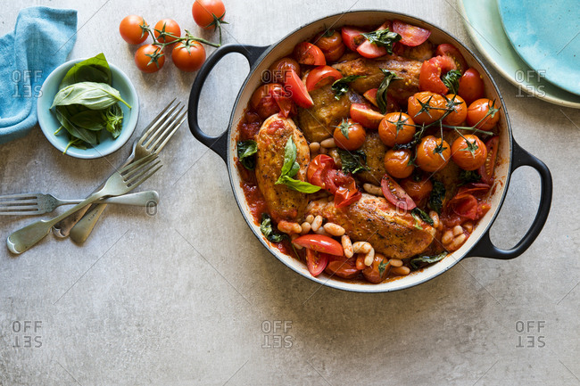 Chicken breast white bean tomato basil