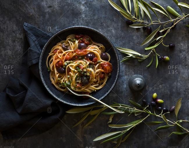 Puttanesca pasta bowl olives