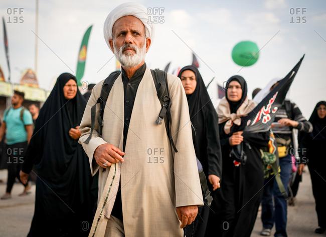 Karbala, Iraq - November 8, 2017: People walking on the Arba'een Pilgrimage