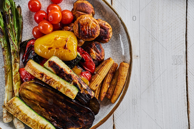 Top down view of beautifully grilled seasonal vegetables