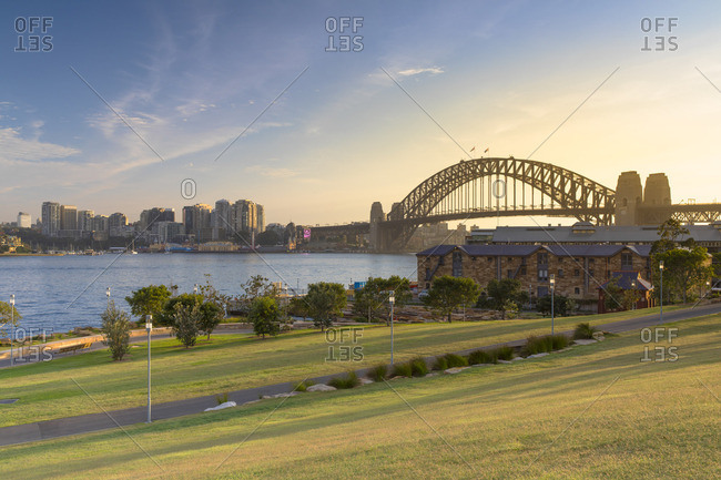 December 19, 2017: Sydney Harbor Bridge from Barangaroo Reserve, Sydney, New South Wales, Australia