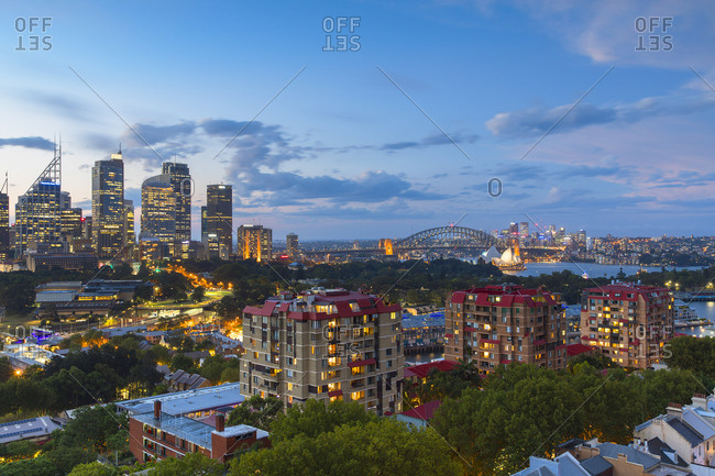 January 2, 2018: View of skyline at sunset, Sydney, New South Wales, Australia