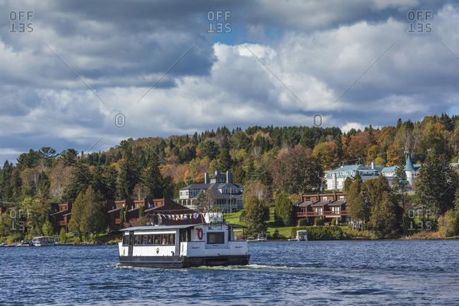 October 6, 2017: Canada, Quebec, The Laurentians, Sainte Agathe Des Monts, Lac des Sables, Alouette Tour boat, autumn