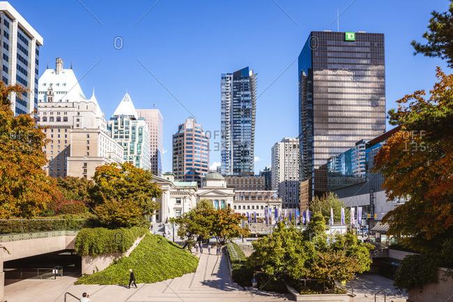 October 1, 2017: Robson square in autumn, Vancouver, British Columbia, Canada