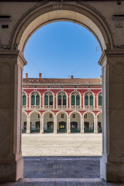 December 25, 2017: Prokurative neo-renaissance buildings in Trg Republike square, Split, Dalmatia, Croatia