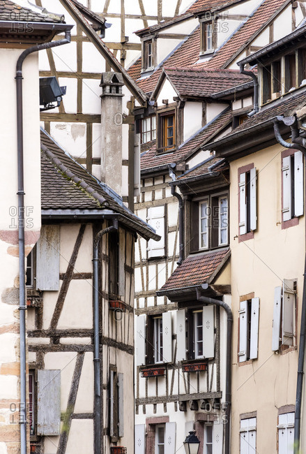 Half-timbered houses of the medieval town of Colmar, Alsatian Wine Route, France