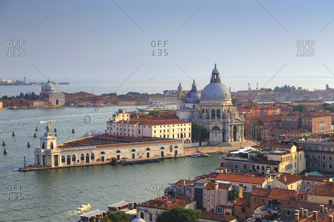 Italy, Veneto, Venice, Sestiere of San Marco, Elevated view of Santa Maria della Salute Church