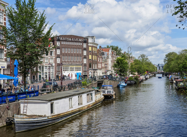 July 27, 2017: Prinsengracht Canal, Amsterdam, North Holland, The Netherlands