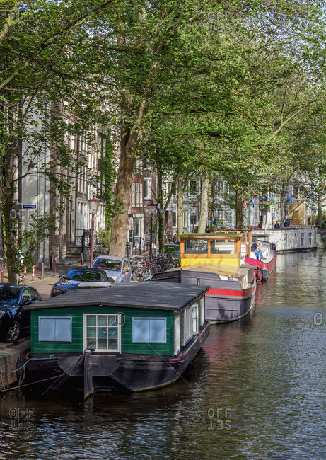 Houseboats on Raamgracht Canal, Amsterdam, North Holland, The Netherlands