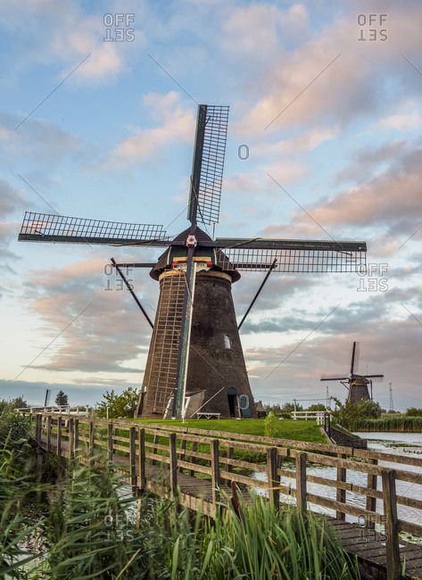 August 3, 2017: Windmills in Kinderdijk at sunset, UNESCO World Heritage Site, South Holland, The Netherlands