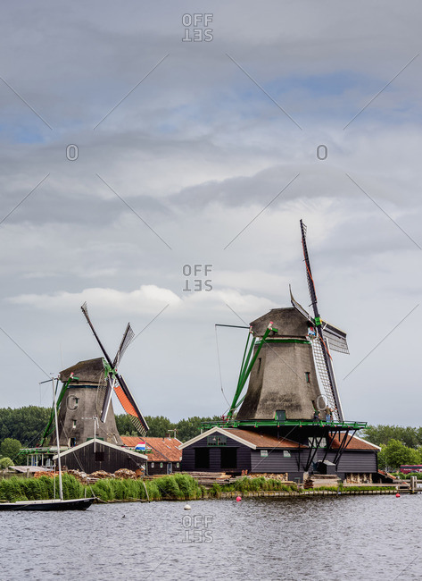 July 29, 2017: Windmills in Zaanse Schans, Zaandam, North Holland, The Netherlands